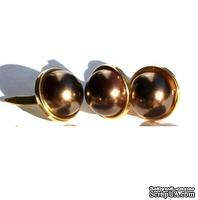 Набор брадсов Eyelet Outlet - Pearl Brads Brown/Gold Edge, цвет коричневый, в золотистой оправе, 12 мм, 10 штук