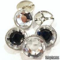 Набор брадсов Eyelet Outlet - Clear Brads Clear/Silver, цвет прозрачный, в серебристой оправе, 16 мм, 10 штук