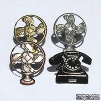 Набор брадсов Eyelet Outlet - Telephone & Fan Brads, 12 штук