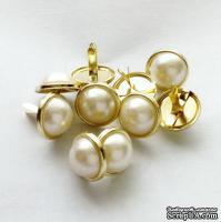Набор брадсов Eyelet Outlet - Pearl Brads, цвет белый в золотой оправе, 11 мм, 10 штук
