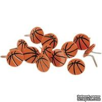Набор брадсов Eyelet Outlet - Ball Brads Basketballs, 12 штук - ScrapUA.com