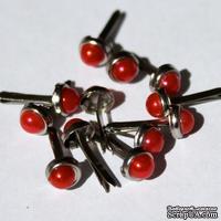 Набор брадсов Eyelet Outlet - Pearl Brads Red, цвет красный, 5 мм, 10 штук