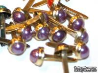 Набор брадсов Eyelet Outlet - Pearl Brads Purple/Gold, цвет фиолетовый, 5 мм, 10 штук