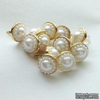 Набор брадсов Eyelet Outlet - Pearl Brads White, цвет белый в золотой оправе, 14 мм, 12 штук