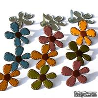 Набор брадсов Eyelet Outlet - Stitched Flower Brads - Fall, 12 штук