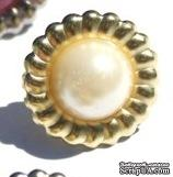Набор брадсов Eyelet Outlet - Scalloped Brads, цвет белый в серебряной оправе, 14 мм, 10 штук