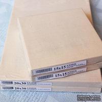 Холст на жестком подрамнике - ХЛОПОК, не грунт, натяжка задняя, 20х30 см