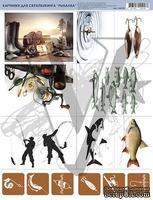 """Лист с картинками """"Рыбалка"""", дизайн Елены Виноградовой, 19.5х27"""