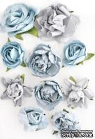 Набор цветов от Kaisercraft - F630, цвет: голубой, 10 шт.
