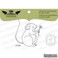 Акриловый штамп Lesia Zgharda FA084 Мышка с цветочком, 4,5*4,5 см.