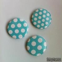 Скрап-значки (фишки). Голубые горошки №2, белый на голубом, 3шт., f33