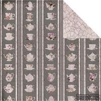 Лист двусторонней скрапбумаги Fabscraps - High Tea Double-Sided Paper - Sets/Khaki & Cream, 30х30 см