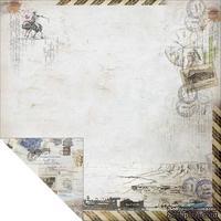 Лист двусторонней скрапбумаги Fabscraps - Romantic Travel Double-Sided Paper - Travel Large 2, 30х30 см