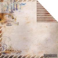 Лист двусторонней скрапбумаги Fabscraps - Romantic Travel Double-Sided Paper - Travel Time 1, 30х30 см