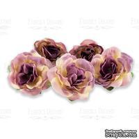 Цветы розы Фиолетовые с желтым  1шт, ТМ Фабрика Декора - ScrapUA.com