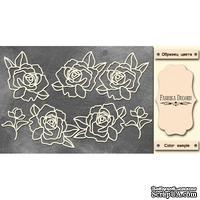Набор чипбордов Розы 343, цвет молочный, ТМ Фабрика Декора