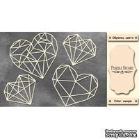 Набор чипбордов Грани сердца #377 color_Milk, ТМ Фабрика Декору