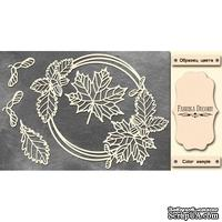Набор чипбордов Круглая рамка с листочками #472 color_Milk, ТМ Фабрика Декору