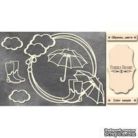 Набор чипбордов Круглая рамка с зонтиками #473 color_Milk, ТМ Фабрика Декору