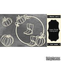 Набор чипбордов Круглая рамка с тыквой #474 color_Black, ТМ Фабрика Декору