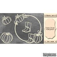 Набор чипбордов Круглая рамка с тыквой #474 color_Milk, ТМ Фабрика Декору