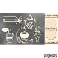 Набор чипбордов Винтажные флаконы с духами, цвет молочный, ТМ Фабрика Декора