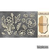 Чипборд Фабрика Декору - Полевые цветы, цвет молочный, крафт