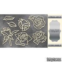 Чипборд Фабрика Декору - Розы, цвет серебро