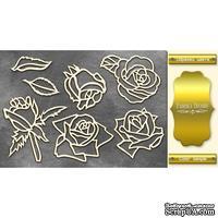 Чипборд Фабрика Декору - Розы, цвет золото