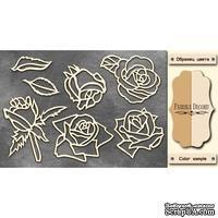 Чипборд Фабрика Декору - Розы, цвет молочный, крафт