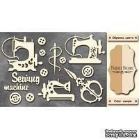 Чипборд Фабрика Декору - Швейные машинки, цвет молочный, крафт