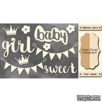 Чипборд Фабрика Декору - Sweet Baby Girl, цвет молочный, крафт