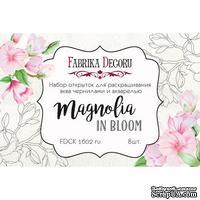 Набор открыток для раскрашивания аква чернилами Magnolia in bloom, ТМ Фабрика Декора