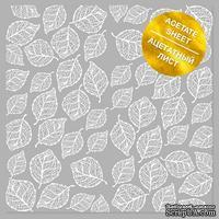 Ацетатный лист с фольгированием White Leaves, ТМ Фабрика Декора
