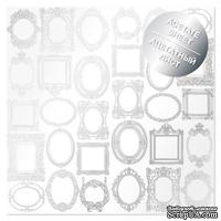 Ацетатный лист с фольгированием Silver Frames 30,5х30,5 см, ТМ Фабрика Декора