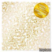 Ацетатный лист с фольгированием Golden Butterflies 30,5х30,5 см, ТМ Фабрика Декора