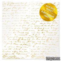 Ацетатный лист с фольгированием Golden Text 30,5х30,5 см, ТМ Фабрика Декора