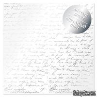 Ацетатный лист с фольгированием Silver Text 30,5х30,5 см, ТМ Фабрика Декора