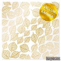 Лист кальки (веллум) с фольгированием Golden Leaves, ТМ Фабрика Декора