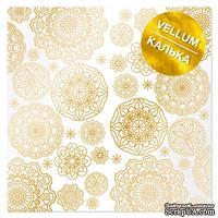 Лист кальки (веллум) с фольгированием Golden Napkins, ТМ Фабрика Декора