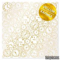 Лист кальки (веллум) с фольгированием Golden Clocks, ТМ Фабрика Декора