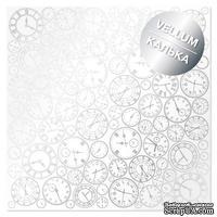 Лист кальки (веллум) с фольгированием Silver Clocks, ТМ Фабрика Декора