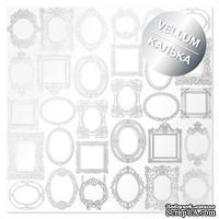 Лист кальки (веллум) с фольгированием Silver Frames 30,5х30,5 см, ТМ Фабрика Декора