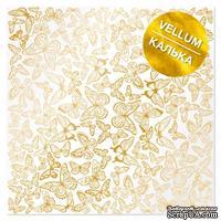 Лист кальки (веллум) с фольгированием Golden Butterflies 30,5х30,5 см, ТМ Фабрика Декора