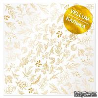 Лист кальки (веллум) с фольгированием Golden Branches 30,5х30,5 см, ТМ Фабрика Декора