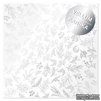 Лист кальки (веллум) с фольгированием Silver Branches 30,5х30,5 см, ТМ Фабрика Декора