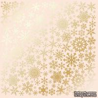 Лист односторонней бумаги с фольгированием Golden Snowflakes Beige, ТМ Fabrika Decoru
