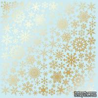Лист односторонней бумаги с фольгированием Golden Snowflakes Blue, ТМ Fabrika Decoru