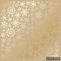 Лист односторонней бумаги с фольгированием Golden Snowflakes Kraft, ТМ Fabrika Decoru
