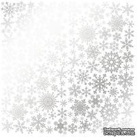 Лист односторонней бумаги с фольгированием Silver Snowflakes White, ТМ Fabrika Decoru